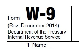 upper left corner of I.R.S. Tax Form W-9
