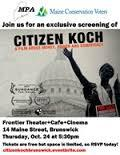 early flyer for 'Citizen Koch' documentary film