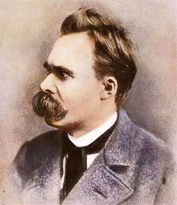 tinted photograph of German philosopher Friedrich Nietzsche [1844-1900]