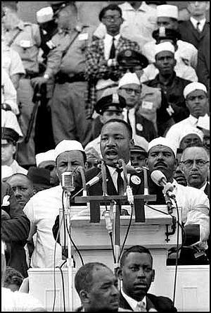 Martin Luther King, Jr. delivering the 'I Have A Dream' speech in Washington, DC on 28 August 1963