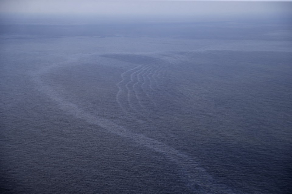 March 2015 aerial photo of the longterm oil sheen from the Taylor oil well off the coast of Louisiana