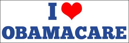'I {heart} Obamacare' bumper sticker