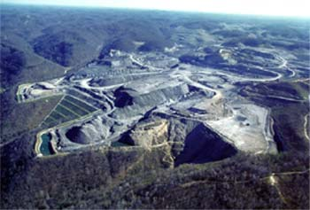 West Virginia mountaintop strip mining site May 2002