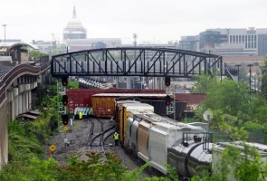 railroad cars from a C.S.X. train that derailed in Northeast Washington, DC on 1 May 2016 - looking south toward the Capitol Building
