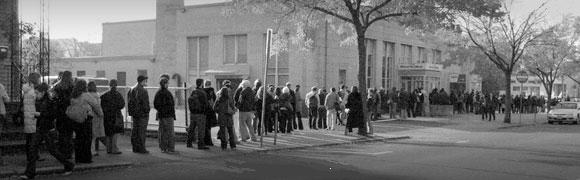 voters in line at the polls, circa 1960s