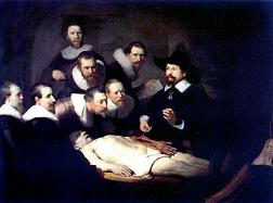 """The Anatomy Lesson of Dr. Nicolaes Tuip"" (1632) by Dutch painter Rembrandt van Rijn [1606-69]"