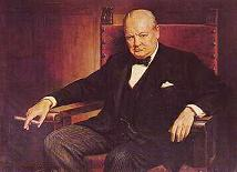 color portrait of Sir Winston Churchill [1874-1965] in chair with cigar