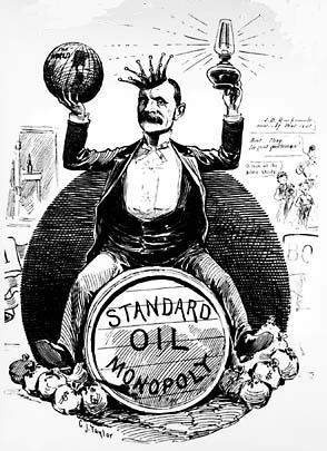 political cartoon of John D. Rockefeller [1839-1937] and the Standard Oil Monopoly