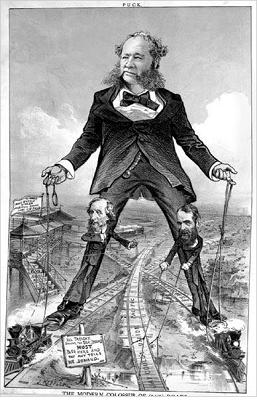 "political cartoon from ""Puck Magazine"" about Cornelius Vanderbilt [1794-1877] as 'The Modern Colossus'"