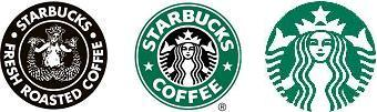 logos for Starbucks Coffee: old on left, new on right