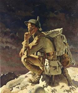 painting of World War I soldier posed like Rodin's statue 'The Thinker'